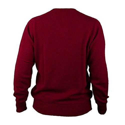 Hawick tricot Men's T-Shirt à col ras de cou Pull cachemire Bordeaux