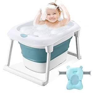 Kinder oder zum Reinigen von Obst Gem/üse Babys tragbares Duschbecken mit rutschfester Matte zusammenklappbares Aufbewahrungsbecken f/ür die K/üche f/ür Neugeborene Faltbare 2-teilige Babybadewanne