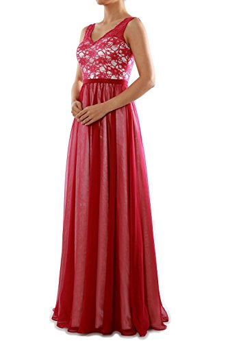 MACloth Women Two Tone V Neck Lace Long Bridesmaid Dress Evening Formal Gown Grün