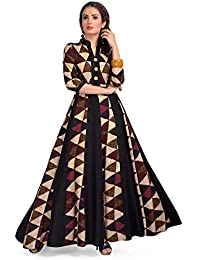 Bhavana Textiles Women's Rayon A-lineparty wear long kurtia for women stylish latest gown style maxi length wedding dresses for ladies indo western design tops printed umbrella readymade stitched girls fashion chinese collar plus size
