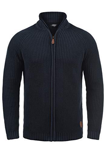 !Solid Xenos Herren Strickjacke Cardigan Grobstrick Winter Pullover mit Stehkragen, Größe:L, Farbe:Insignia Blue (1991)