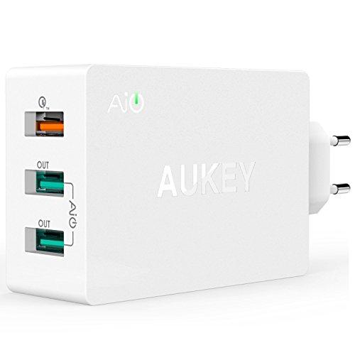 Aukey PA-T2 - Cargador de red, color blanco