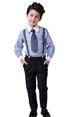 Icegrey Jungen Hochzeit Festlich gekleidet Taufe Gestreifte blaue Anzug mit Tupfen-Fliege Hellblau 5-6 Jahre (Husky Jungen Anzug)