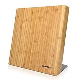 Navaris Bloc à Couteaux magnétique - Bloc aimanté en Bois de Bambou - Range Couteau de Cuisine Vide - Support Vertical avec Aimant