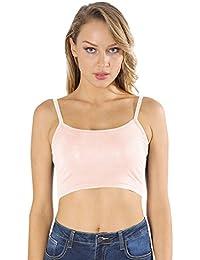HOCAIES Damen Top Damen Tight Crop Top Rundhals T-Shirts Spaghettiträger-Top  Lady-Fit Strap T Sport Dance… 5d001be36e