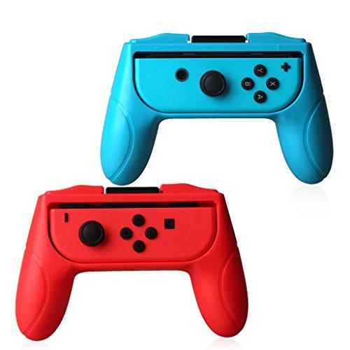 Chiic 2 pièces Nintendo Switch Poignées de contrôleur, Résistant à l'usure Jeu anti-glisse Kit de support de contrôleur pour Nintendo Switch Joy-Con (Rouge et bleu)