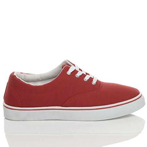 Hommes talon bas plat lacets désinvolte plimsolls chaussures de tennis pointure Rouge