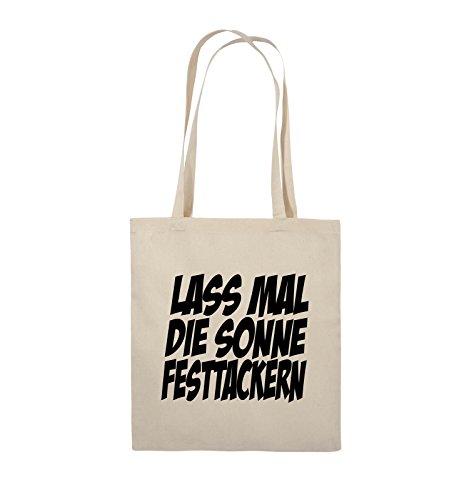 Comedy Bags - LASS MAL DIE SONNE FESTTACKERN - Jutebeutel - lange Henkel - 38x42cm - Farbe: Schwarz / Silber Natural / Schwarz