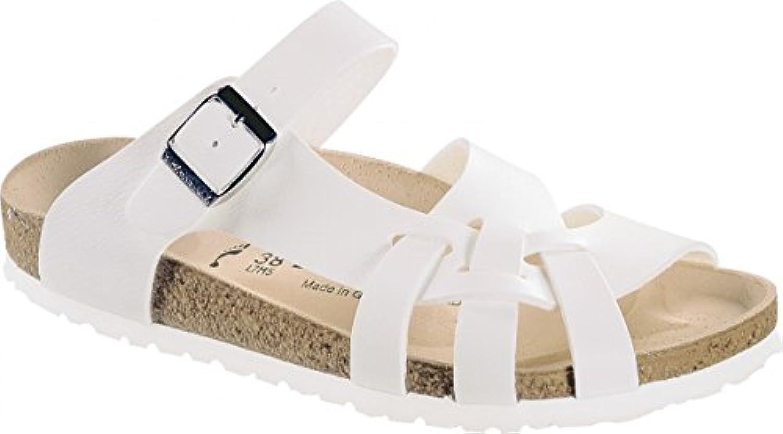 BIRKENSTOCK Pantolette Sandale Pisa Weiß Birko-Flor Gr. 35-43 075733 + 075731 Größe + Weite:42 Normal