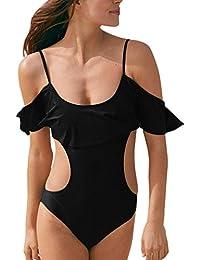 Damen-Bikini, asymmetrisch, Mädchen-Badeanzug mit Rüschen, schulterfrei,  Badeanzug, 6d730784f9