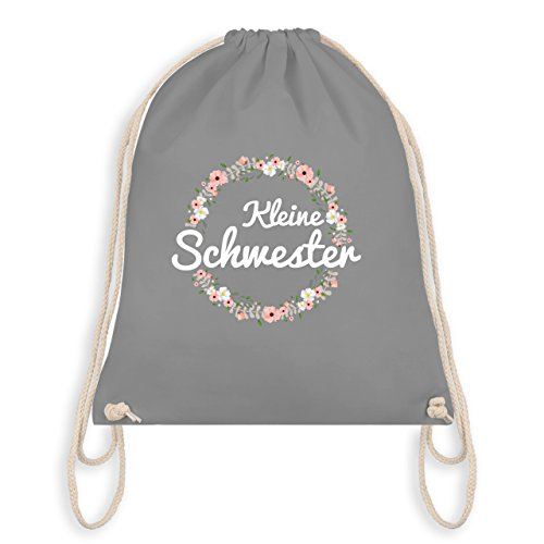 Geschwisterliebe Kind - Kleine Schwester Blumenkranz - Unisize - Hellgrau - WM110 - Turnbeutel I Gym Bag