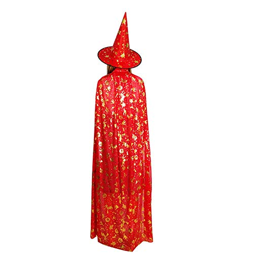 BaronHong Halloween Kinder Masquerade 5 Sterne Hexe Zauberer Kinder Umhang Cape + Hut (rot, 155 (Kindes Rote Cape)