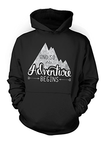 And So The Adventure Begins Mountains Hiking Holiday Traveling Herren Hoodie Sweatshirt Schwarz Medium