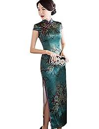b087e3fde50d Hzjundasi Cinese Donne Elegant Lungo Biancheria Qipao Vestito da Sera  Floreale Stampato Seta Slim Cheongsam Robe