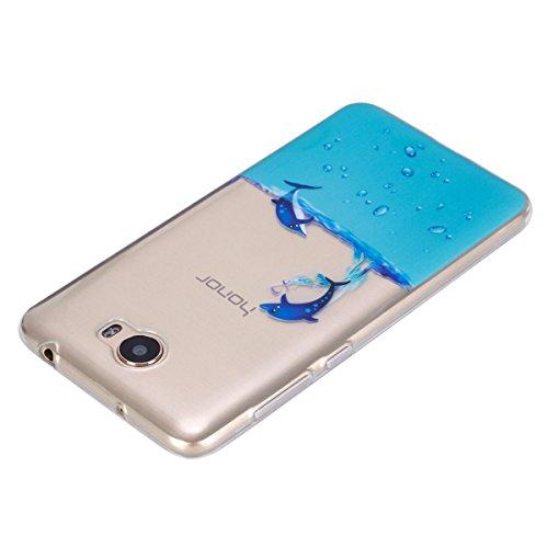 Ukayfe Custodia per Huawei Y5 II,Ultra Slim TPU Gel Gomma Silicone Copertura Case per Huawei Y5 II,Moda Serie Pattern Back Cover Crystal Skin Custodia Stilosa custodia di design Protettiva Shell Case  Nuoto delfini
