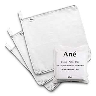 Ané 3 Double Sided Muslin and Microfibre Face Cleansing Cloths - Makeup Removers, Deep Pore Cleansers and Face Exfoliators