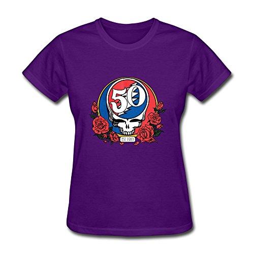 aopo Grateful Dead 50. Jahrestag T-Shirts für Frauen XXL violett (Grateful Dead-kragen)