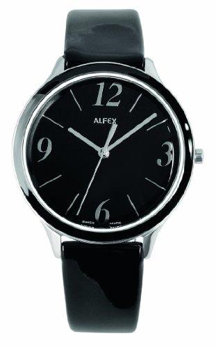 Alfex - 5701_852 - Montre Femme - Quartz Analogique - Bracelet Peau Noir