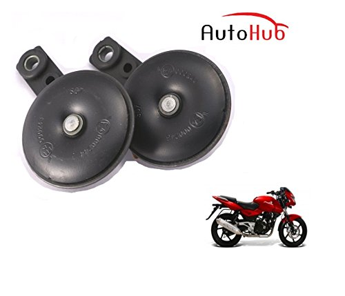 Auto Hub Uno Minda Bike Horn Set For Bajaj Pulsar 200 - Set of Two (Black)  available at amazon for Rs.499
