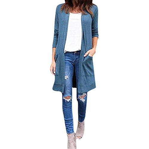 YunYoud Neue Damen Mantel Frau Einfarbig Beiläufig Strickjacke Tops Mode Hülse lang Öffnen Jacke Herbst Winter Lose Lange Outwear Windjacke Frauen (L, Blau) (Top Knit Feminine)