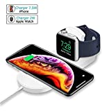 MASOMRUN Cargador Inalámbrico Rápido 2 en 1 para iPhone XS,Apple Watch4 / 3/2 /...