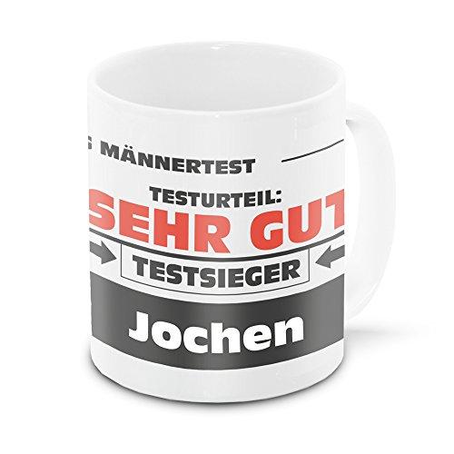 Namens-Tasse Jochen mit Motiv Stiftung Männertest, weiss | Freundschafts-Tasse - Namens-Tasse - 9.5 Jochen