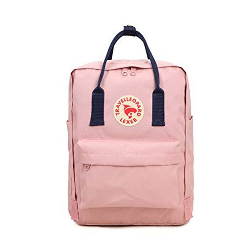 XuBa Unisex Modischer Rucksack für Schule, Studenten, verschleißfest, Einfarbig, Schwarz, Pink Blue ribbon/20L Big