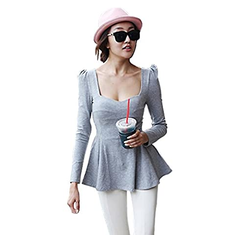 Imixcity New Women's Vintage Square Neck Puff Sleeve Peplum Top Slim Fit T-shirt Blouse (Grey)