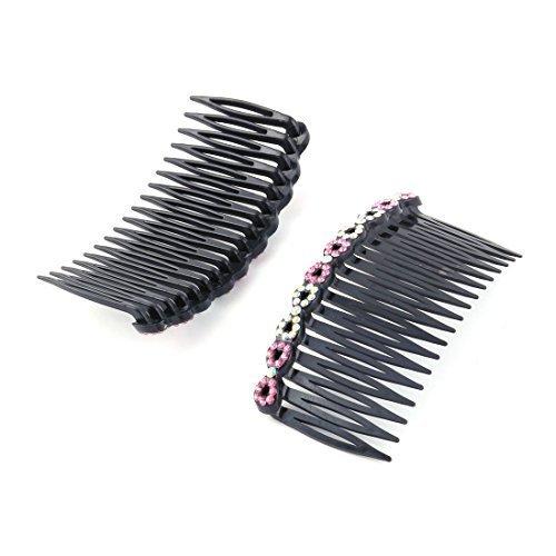 DealMux plastique cristal Decor femmes 18 dents fantaisie DIY Le Peigne du poil du clip de diapositives 2 pièces