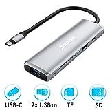 USB C Hub, JYDMIX 5-in-1 Aluminum Dex Station mit ein Type C Datenhub, ein SD- Speicherkarten-Schächte,ein Micro SD- Kartenleser Slot und zwei USB 3.0 Ports. Converter für MacBook, Chromebook, Samsung und Weiteren USB -C Fähige Geräte, Space Grau