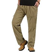 CardanWolf - Pantalones Cargo Hombre de Algodón de Invierno con Cintura Elástica para Trabajar de Talla Grande