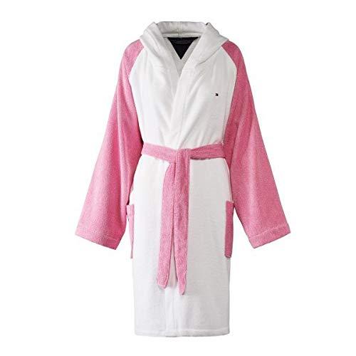 Tommy hilfiger accappatoio kimono con cappuccio tg s m l xl xxl 100% spugna puro cotone uomo donna pink, s - 42/44