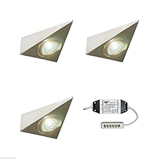 3 X KITCHEN UNDER CABINET CUPBOARD LED TRIANGLE LIGHT KIT POLARIS - VERY BRIGHT