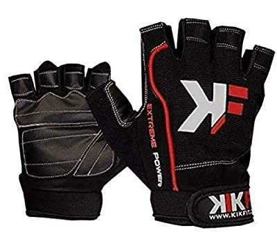 KIKFIT Amara Leather Wheelchair Gloves Fingerless Gym Sports Half Finger Gel Padded Crutches Mobility Disability Weight Lifting Exercise Cycle Racing Bike Gloves