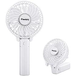 Ventilateur à Main, Mini Ventilateur Silencieux Suspension, USB Rechargeable avec 3 Vitesses, Fan Pliable et Portable pour Maison, Bureau et Voyage (Blanc)