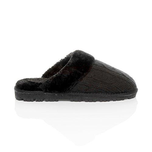 Femmes hiver doublée de fourrure luxe confortable chaude plat pantoufles chaussons pointure Noir en tricot
