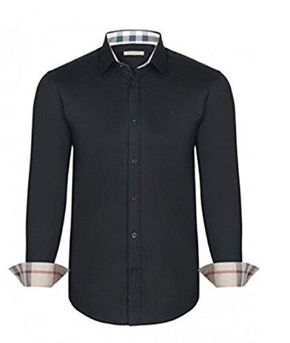 Burberry camicia uomo/mens brit regular fit manica lunga (xx-large, nero)