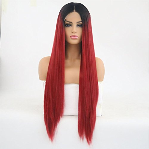 TTHJY Synthetische Lace Front Perücken Glatt Mittelteil Synthetische Haare Hitze Resistent Rot Perücke Damen Lang Spitzenfront,18Inch