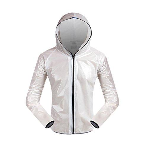 Dexinx Erwachsene im Freien Fest Farbe Radfahren Wasserdichte Jacke Windschutzbreath Langarm mit Kapuze Bike Raincoat Weiß M