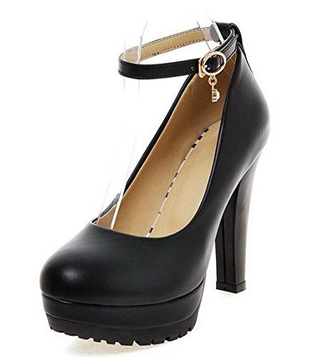 VogueZone009 Femme Matière Souple Rond à Talon Haut Boucle Couleur Unie Chaussures Légeres Noir