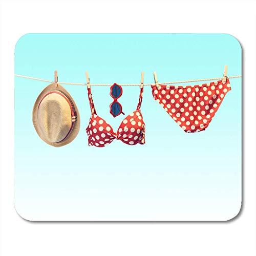 Deglogse Gaming-Mauspad-Matte, Summer Woman Swimsuit Bikini Red Polka Dots Sunglasses Hat Mouse Pad, Desktop Computers mats