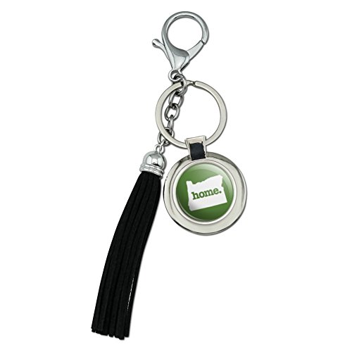 Oregon oder Home State massivem grün Offizielles Lizenzprodukt chrom versilbert Metall rund Leder Quaste Schlüsselanhänger (State Leder Oregon)