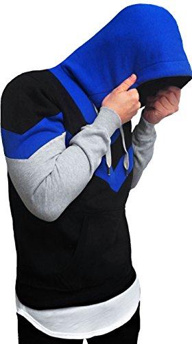 OVERSIZE HOODIE pullover longsleeve shirt Long lang Longshirt camouflage Swag Herren Strick Sweatshirt hip hop Sweat Jacke weiß schwarz langes Kapuzenpullover Sweatjacke Pulli langarm hoody sweater Blau / Schwarz / Grau