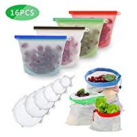 Reusable-Silicone-Food-Bags, Anbaituor 4 1L Sandwich Bags, 4 Reusable Shopping Produce Bags for Fruit and Vegetables, 6 Silicone Stretch Lids, BPA Free Safe in Freezer Microwave Oven Freshness