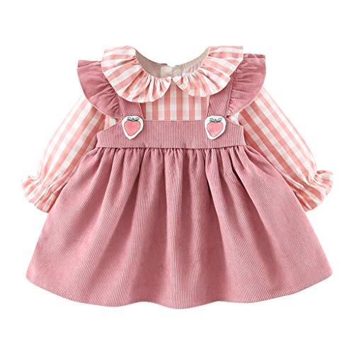 Kleinkind Baby Mädchen Pink Kariertes Kleider Fake Zwei Stücke Kleider Erdbeer Muster Patchwork Kleider Langarm Gekräuselte Herbst Winter T-Shirt Kleid -