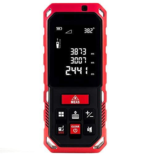 DD&k 50 Laser Entfernungsmesser (Messbereich 0,05-40 m, LCD Display mit Beleuchtung, Neigungssensor, ± 2,0 mm Messgenauigkeit, NI-MH 800 mAh Akkus, Schutztasche, IP65 Schutzklasse)