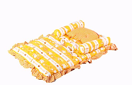 Baybee Jumbo Bed with Neck Pillow and Bolsters (Orange)