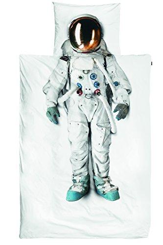 Snurk Dreaming Astronauta Duvet Sets, individual, de la guinga, Imprimir Colocado, White