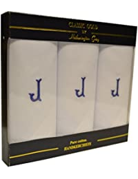 Pack de 3 Mouchoirs Pour Homme Blanc Avec 1 Lettre Initiale du Nom