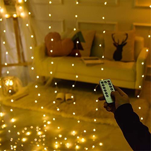Led 9 Farbe Romantische Lichter Weihnachten Hochzeit Dekoration Outdoor Vorhang Kette Lichter Fernbedienung 8 Modi Usb Licht Warmweiß 3 * 3 Mt (Usb + Fernbedienung)